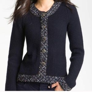 Tory Burch Wool Navy Knit Embellished Cardigan